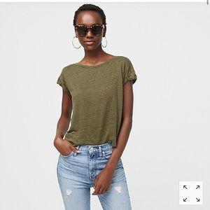J.Crew Pont Sur Linen Roll Cuff T-Shirt Size S
